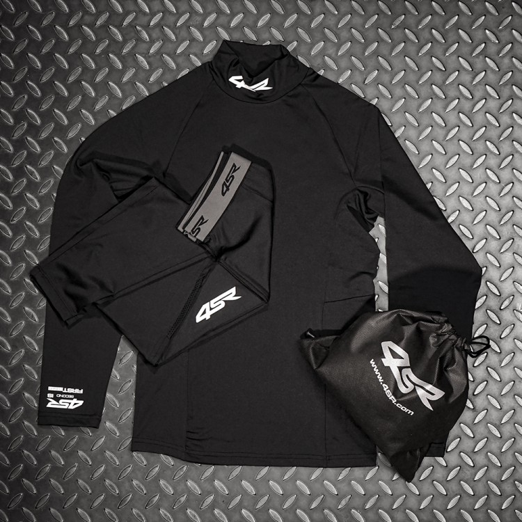 4SR Motorcycle clothing and protective gear - New Baselayer Set Six-Pack Black