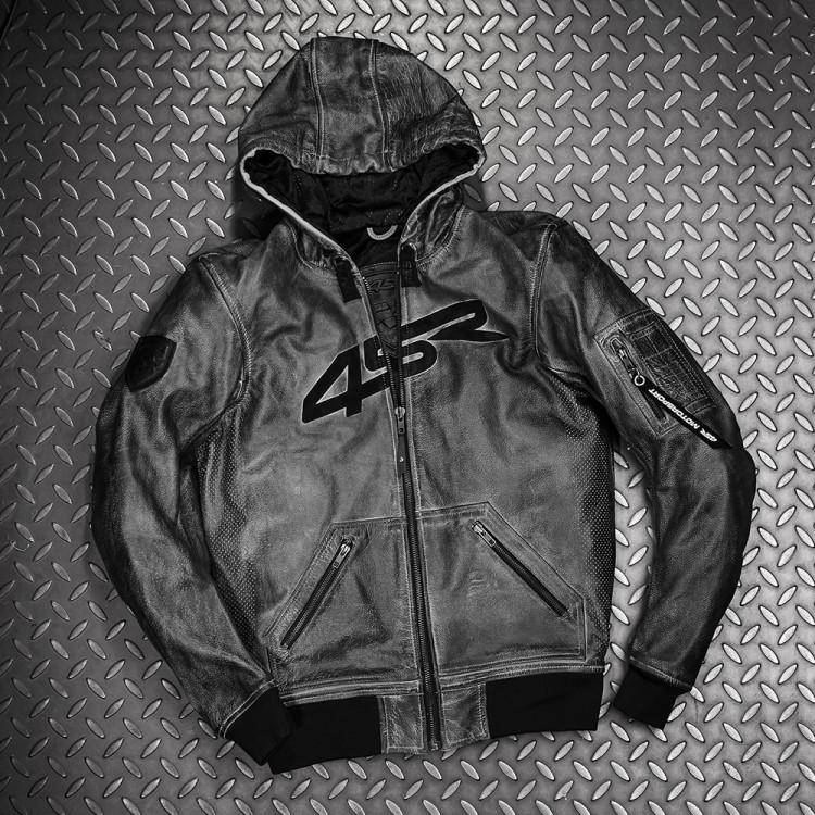 4SR motorcycle leather Hoodie Jacket