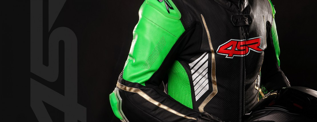 4SR Motorcycle Leathers -Racing Monster Green AR Airbag Ready suit